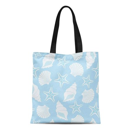 ASHLEIGH Canvas Tote Bag Blue Shell Pattern Seashells and Starfish Oyster Pearl Sand Reusable Shoulder Grocery Shopping Bags (Satchel Oyster)