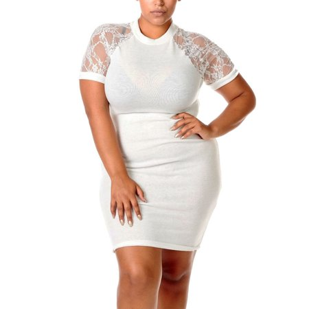 - Womens Plus Curvy Lovely Fancy Stretched Beautiful Stretched Lace Sleeves Dress-XL-Ivory