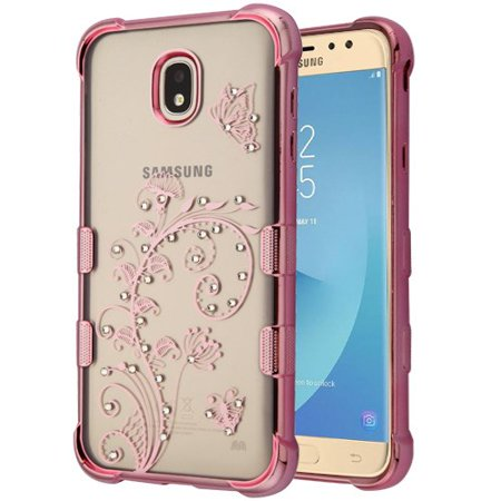 For Samsung Galaxy J7 (2018), J737, J7 V 2nd Gen, J7 Refine Case Phone Slim Thin Hybrid Silicone Rubber Protective Soft Phone Case Cover Lily of Valley Rose Gold Transparent