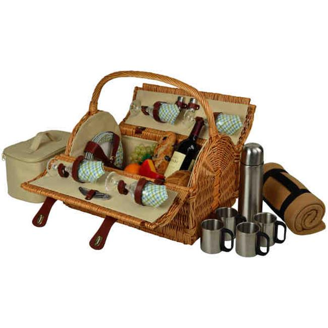 Yorkshire Picnic Basket for 4 with Blanket & Coffee-Wicker-Gazebo by GameOver