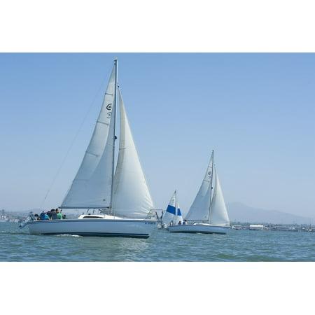 Water Boat Yacht Sea Sailing Sailboats Ocean Poster Print 24 x