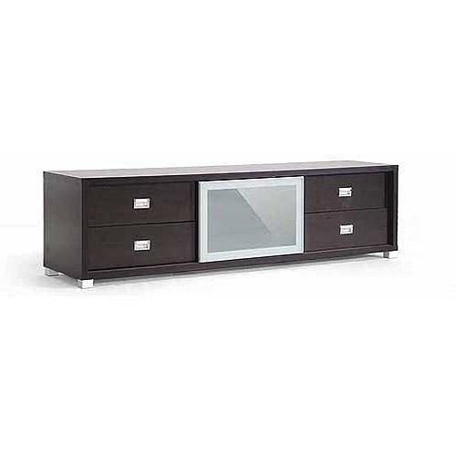 "Wholesale Interiors Botticelli Modern TV Stand with Frosted Glass Door for TVs up to 70"", Dark Brown"