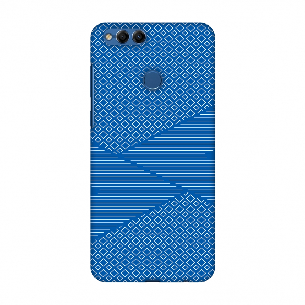Huawei Honor 7X Case, Premium Handcrafted Printed Designer Hard Snap on Shell Case Back Cover with Screen Cleaning Kit for Huawei Honor 7X - Carbon Fibre Redux Coral Blue 6