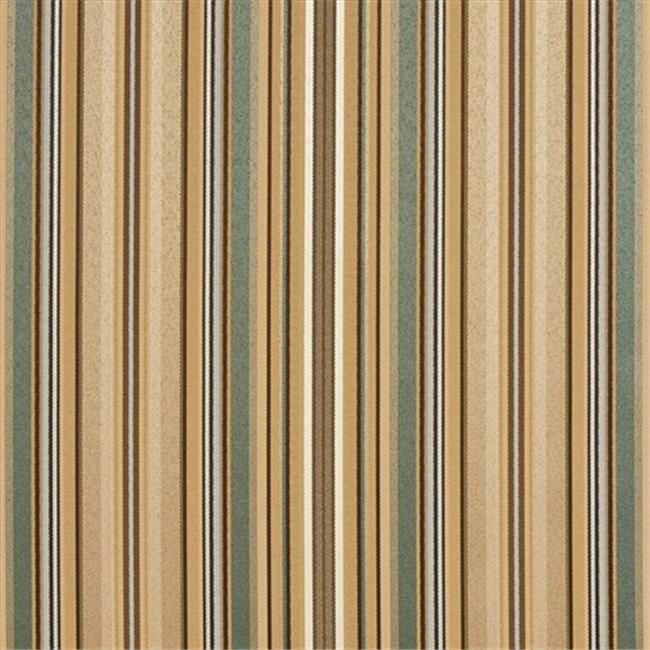 Designer Fabrics U0160F 54 in. Wide Green, Light Blue And Gold Shiny Thin Striped Silk Satin Upholstery Fabric