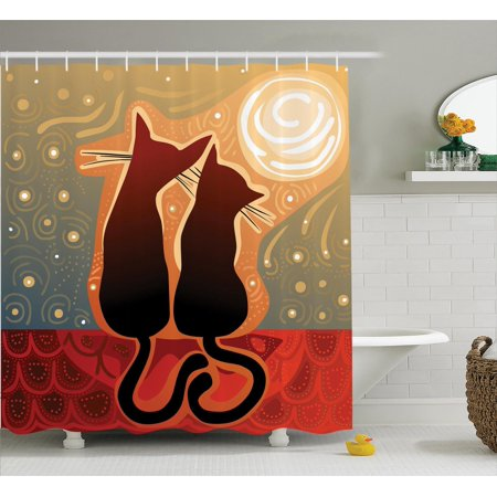 Lighting Luna Bath - Animal Decor Shower Curtain Set, Affectionate Female And Male Cats Love Watching The Moon Luna In A Stary Sky Print, Bathroom Accessories, 69W X 70L Inches, By Ambesonne