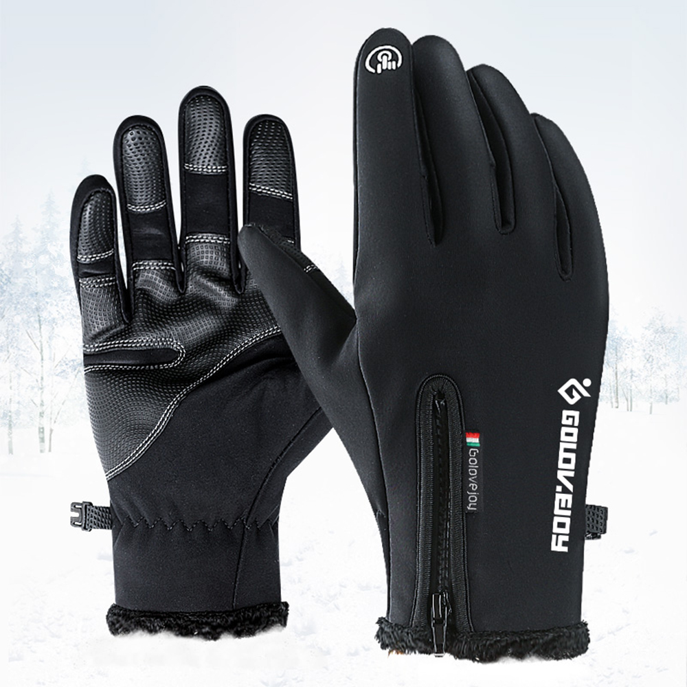 HTZPLOO Winter Gloves Waterproof/&Windproof with Shock-Absorbing Pad Anti-Slip Insulated Warm Gloves for Cycling Running Hiking Skiing