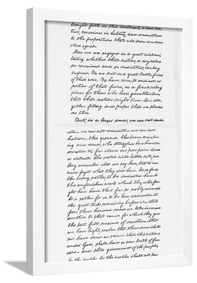 photo regarding Gettysburg Address Printable titled Abraham Lincolns Gettysburg Protect Speech Notes Framed Print Wall Artwork