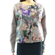 WESTON NEW Gray Floral Lace Panel Women's Medium M Full Zip Knit Jacket
