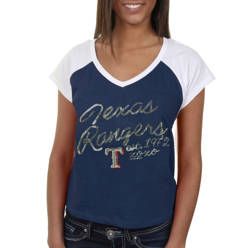 Texas Rangers 5th & Ocean by New Era Women's Hi-Low Hem Tee - Royal