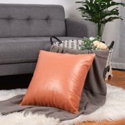 "Faux Leather Pillow Covers, Decorative Throw Cushion Covers for for Couch Sofa Bed, 18"" x 18"", Orange"