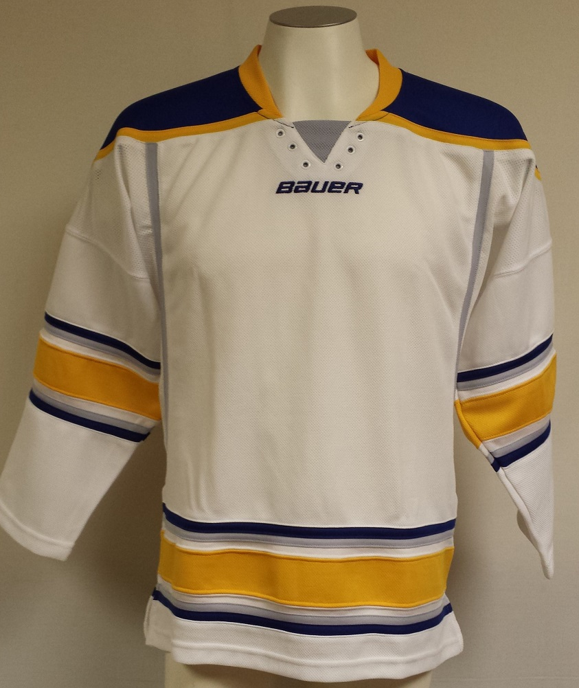 Bauer 800 Uncrested NHL Hockey Jersey, Senior Small (Buffalo Sabres-White) by Bauer Hockey