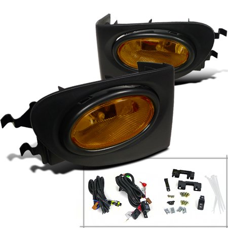 Spec-D Tuning For 2002-2005 Civic 3Dr Hatch Si Yellow Fog Lights Driving Lamps + Switch & Bulbs 2002 2003 2004 2005 (Left+Right) ()