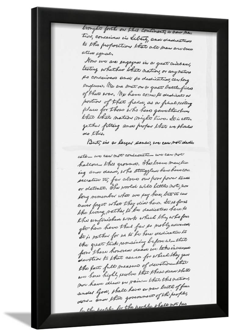 photograph relating to Gettysburg Address Printable known as Abraham Lincolns Gettysburg Deal with Speech Notes Framed Print Wall Artwork