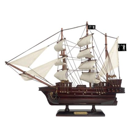 Wooden Black Bart's Royal Fortune White Sails Pirate Ship Model 15