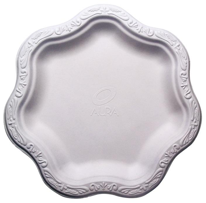 """(500 pcs) 9"""" inch Disposable Floral Medium Premium White Plates Acanthus Collection Natural Sugarcane Bamboo Fibers Bagasse 100% Byproduct Eco Friendly Environmental Plastic Paper Plate Alternative"""