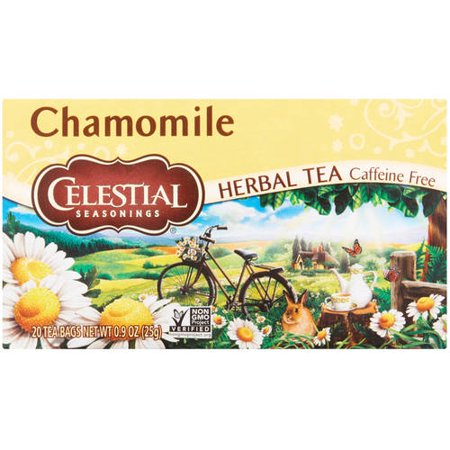 (6 Boxes) Celestial Seasonings Herbal Tea, Chamomile, 20 (Chamomile Lavender Herbal Tea)