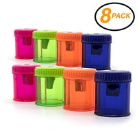 Emraw Single Hole Manual Pencil Sharpener with Round Receptacle to Catch Shavings for Regular Sized Pencils and Crayons Designed in Brightly Colored Plastic -Great for School, Home & Office (8 Pack)