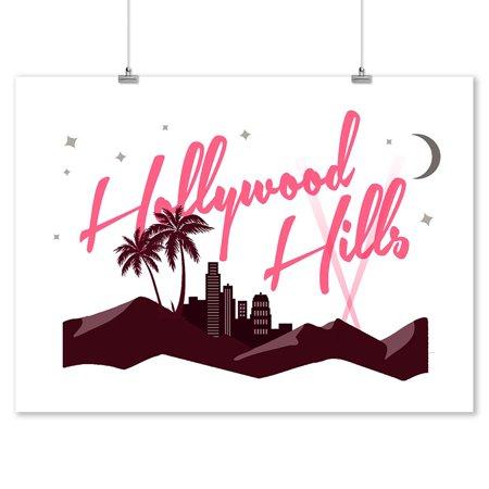 Hollywood Hills, California - Vector - Lantern Press Artwork (9x12 Art Print, Wall Decor Travel - Hollywood Deco