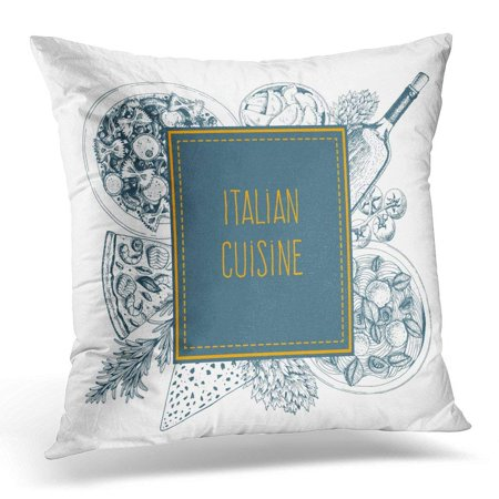 ARHOME Pasta Italian Cuisine Food Label with Ravioli Farfalle Pizza and Wine Linear Graphic Italy Pillow Case Pillow Cover 18x18