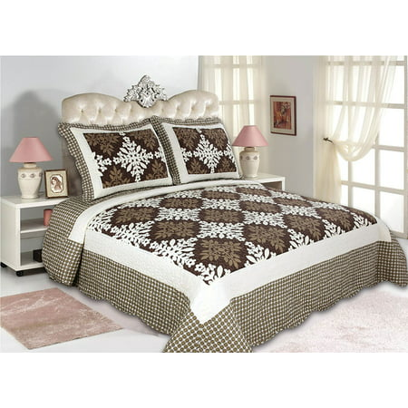 All for You 3pc Reversible Quilt Set, Bedspread, and Coverlet with Flower Prints-4 different sizes-Brown Patchwork Prints ( full/queen 86