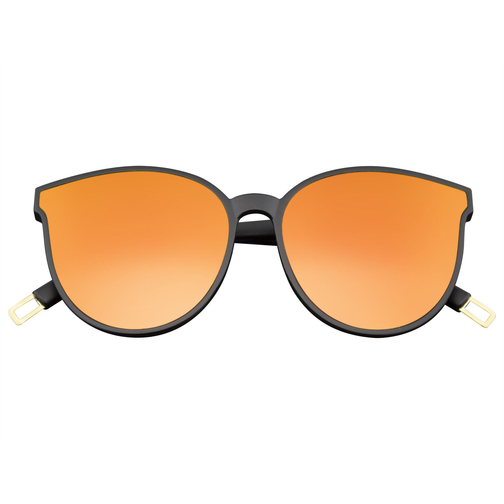 Mens Womens Retro Modern Horned Rim Mirrored Flat Infinity Lens Sunglasses