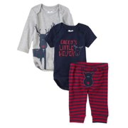 Childrens Place Infant Boys 3 Piece Daddys Little Helper Creepers Pants Set 3-6m