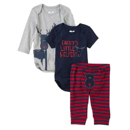 Childrens Place Infant Boys 3 Piece Daddys Little Helper Creepers Pants Set This baby boys  Daddy's Little Helper  holiday set features two creepers and striped pants with reindeer designs.3 Piece SetSize: Infant BoysCreepers: 100% cottonPants: 100% cottonBrand: The Childrens Place