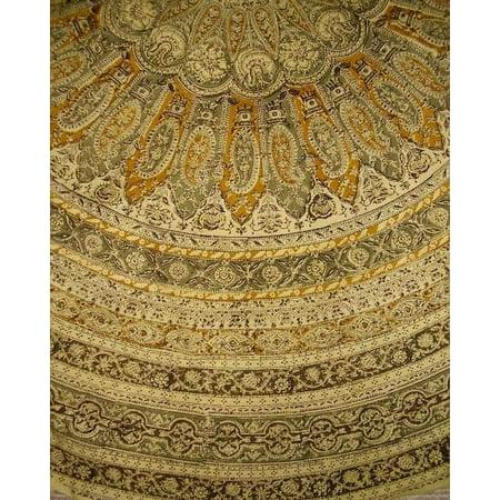 Veggie Dye Block Print Round Cotton Tablecloth 72