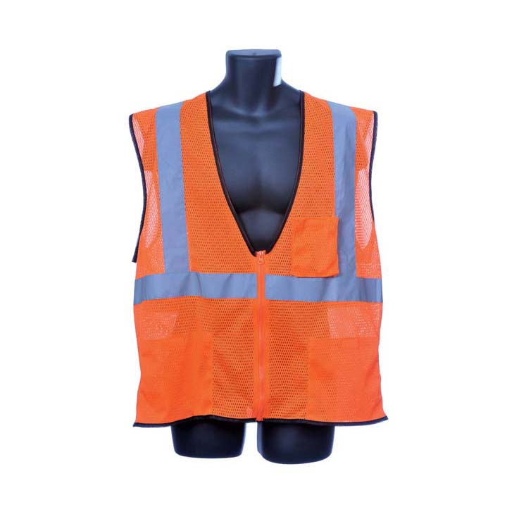 Class II Orange Mesh Vest. Size: Medium Lot of 1 Pack(s) of 1 Unit
