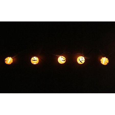 Set of 10 Orange Jack-O-Lantern Pumpkin Novelty Halloween Lights - Black - Black Pumpkins Halloween