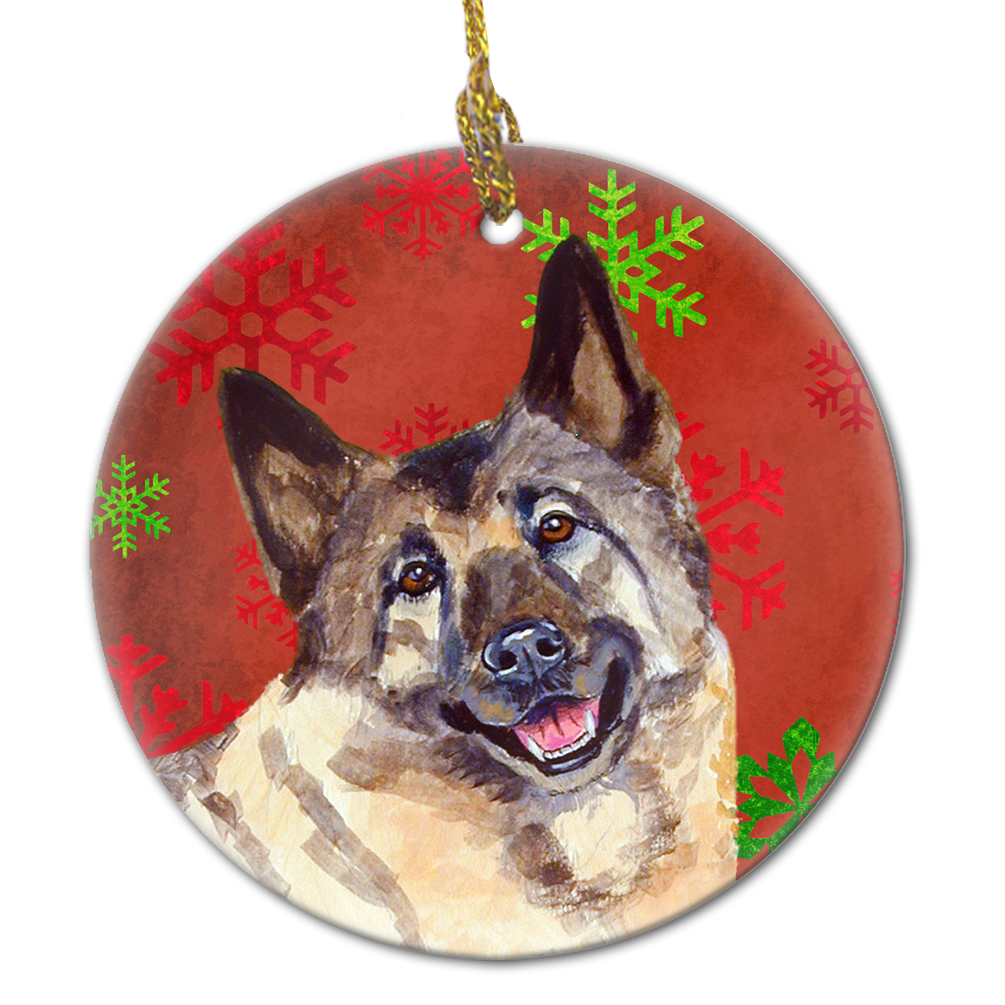 Norwegian Elkhound Red Snowflake Holiday Christmas Ceramic Ornament ...