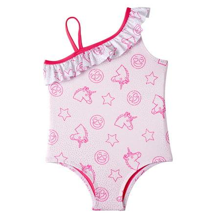 Toddler Girls One Piece - Pink Platinum Printed Ruffle One-Piece Swimsuit (Baby Girls & Toddler Girls)
