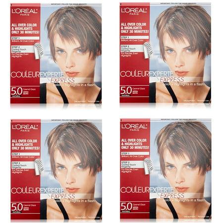 L'Oreal Paris Couleur Experte Express Hair Color + Highlights, Permanent 5.0 Natural Caramel Glaze Medium Brown (Pack of 4)](Les Couleur D'halloween)