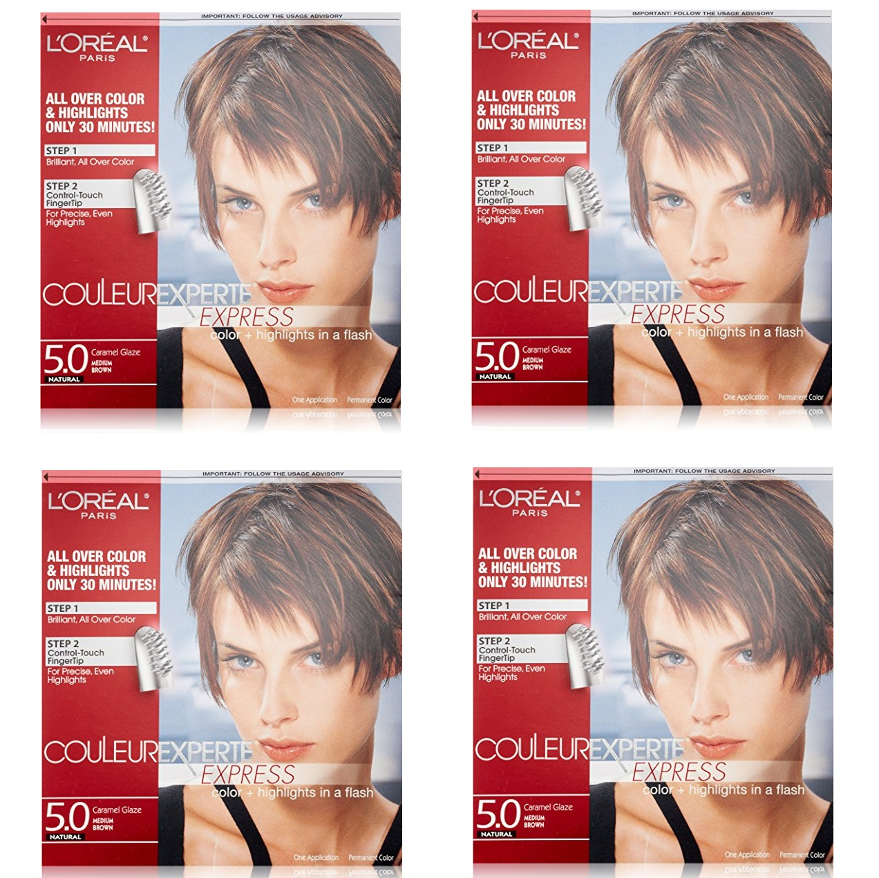 L'Oreal Paris Couleur Experte Express Hair Color + Highlights, Permanent 5.0 Natural Caramel Glaze Medium Brown (Pack of 4)