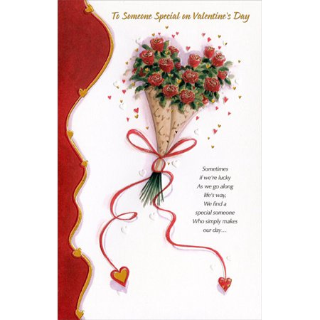 Day Love Bouquet (Freedom Greetings Rose Bouquet Wrapped in Love Paper Valentine's Day Card )