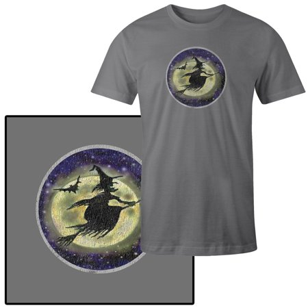 Mens Halloween Witch Broomstick Full Moon T Shirt