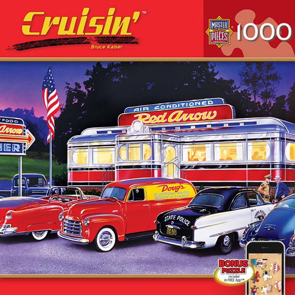 Dinner at the Red Arrow 1000 Piece Puzzle,  More Folk Art by Masterpieces Puzzle Co.