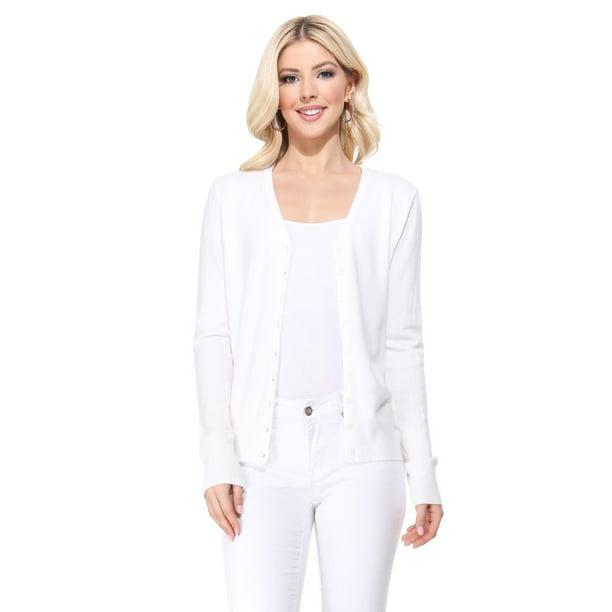 YEMAK Women's Long Sleeve V Neck Button Down Soft Knit Cardigan Sweater MK5178 White XL