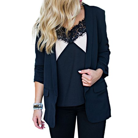DYMADE Women's Work Jacket 3/4 Ruched Sleeve Open Front Casual Office Blazer Jacket - Kids Green Blazer
