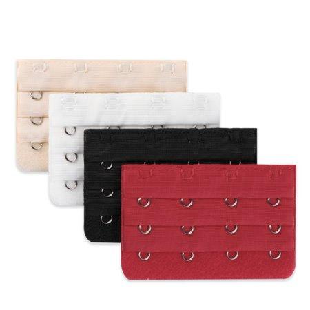 4pcs Lady Bra Strap Extenders 4 Hooks 3 Rows Bra Extension Multicolor