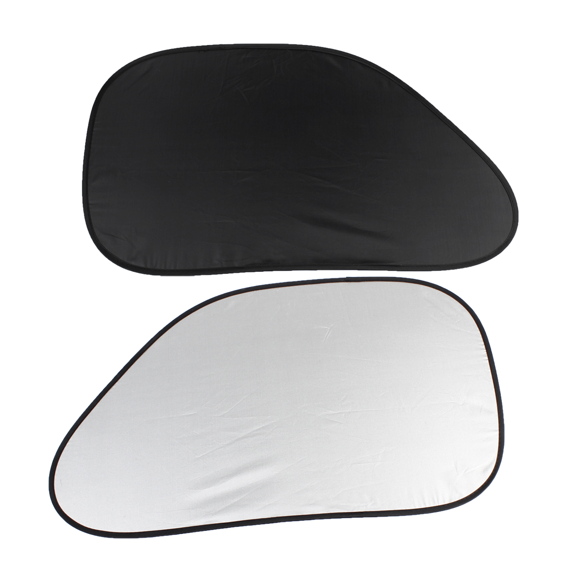 """2Pcs 25.6"""" x 14.6"""" Car Front Side Window Sun Shade UV Protection Static Cling Silver Tone"""