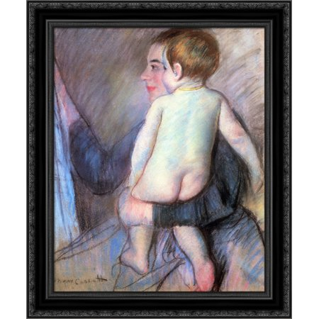 At The Window 20X24 Black Ornate Wood Framed Canvas Art By Cassatt  Mary