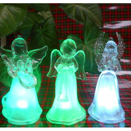 Elegantoss Set of 3 Christmas Angel Ornaments, 12cm High, Color Changing LED Lights, Christmas Gift, Table Decoration Light, Night Light
