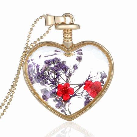 Women Dry Flower Heart Glass Wishing Bottle Pendant Necklace (Bottle Necklaces)