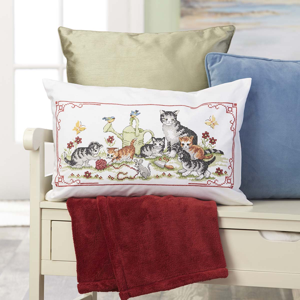 Herrschners® Playful Kittens Pillow Cover Stamped Cross-Stitch Kit