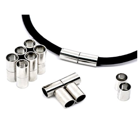 24x8mm Silver Tone Magnetic Clasps Tubes Connectors For Jewelry Making Lead Free AC10089 4 Sets Silver Tone Bail Clasp