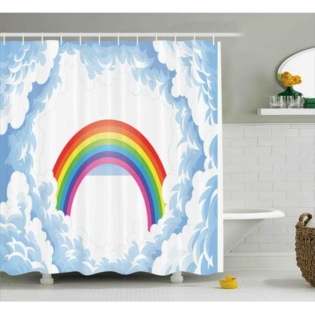Cartoon Shower Curtain, Rainbow above Fluffy Cute Romantic Clouds ...