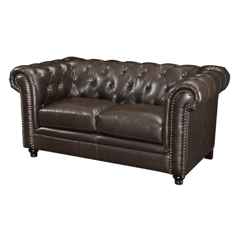 Bowery Hill Faux Leather Button Tufted Loveseat in Dark Brown
