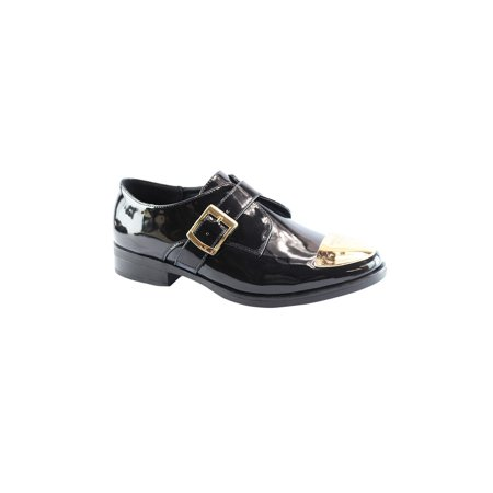 - Liyu Adult Black Patent Gold Cap Toe Buckle Strap Oxford Shoes