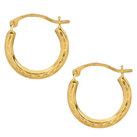 - 10k Yellow Gold Shiny Diamond Cut Round Hoop Earrings, Diameter  15mm